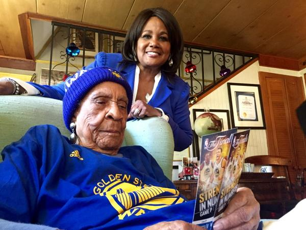 "<div class=""meta image-caption""><div class=""origin-logo origin-image none""><span>none</span></div><span class=""caption-text"">Sweetie shows off her tickets for Game 1 of the NBA Playoff Finals on Thursday, June 4, 2015. The 105-year-old is pumped up! (KGO-TV)</span></div>"