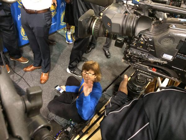 "<div class=""meta image-caption""><div class=""origin-logo origin-image none""><span>none</span></div><span class=""caption-text"">ABC7 News reporter Laura Anthony is tweeting from the ground floor ahead of Game 1 of the NBA Playoff Finals Thursday, June 4, 2015. (KGO-TV)</span></div>"