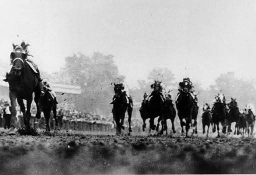 "<div class=""meta image-caption""><div class=""origin-logo origin-image none""><span>none</span></div><span class=""caption-text"">Assault, far left, thunders down to the finish line to win the 72nd Kentucky Derby at Churchill Downs on May 4, 1946. Assault went on to win the Preakness and Belmont.  (AP Photo) (AP Photo/ XNBG AD)</span></div>"