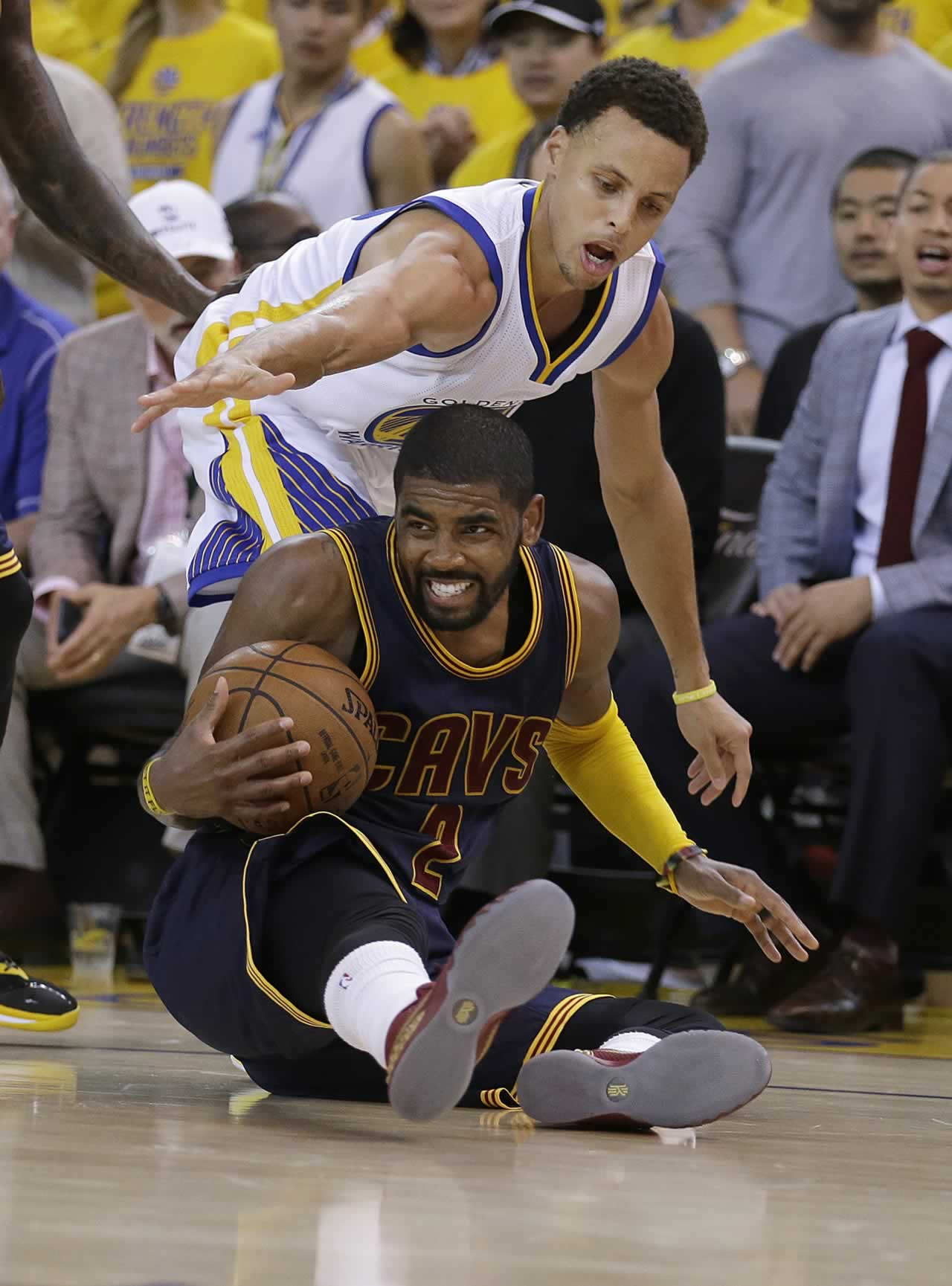 """<div class=""""meta image-caption""""><div class=""""origin-logo origin-image none""""><span>none</span></div><span class=""""caption-text"""">Cavaliers guard Kyrie Irving is guarded by Warriors guard Stephen Curry during Game 1 of basketball's NBA Finals in Oakland, Calif., Thursday, June 4, 2015. (AP Photo/Ben Margot)</span></div>"""