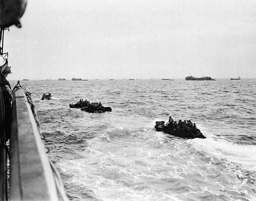<div class='meta'><div class='origin-logo' data-origin='none'></div><span class='caption-text' data-credit='AP Photo/ XJFM RCC'>Bouncing about on the rough waters of the Channel, these landing craft loaded with assault troops head for the shore of the French coast early in the dawn of D-Day, June 6, 1944.</span></div>