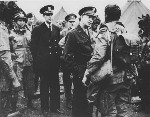 <div class='meta'><div class='origin-logo' data-origin='none'></div><span class='caption-text' data-credit='AP Photo/ ANONYMOUS'>Supreme Commander Dwight Eisenhower visits paratroopers of the 101st Airborne Division, three hours before the D-Day invasion</span></div>