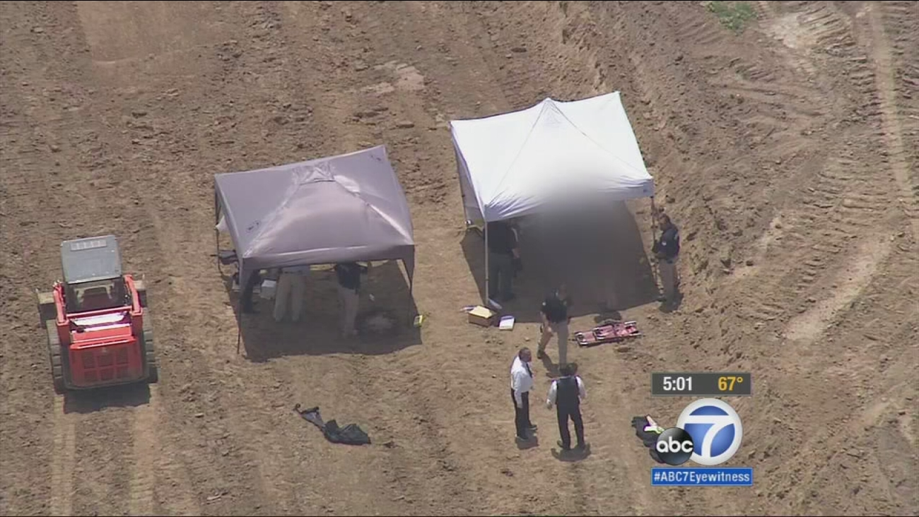 Construction workers found the body of a man face-down in a remote area near Wolf Trail and Orchard Hills in Irvine Friday, June 5, 2015.
