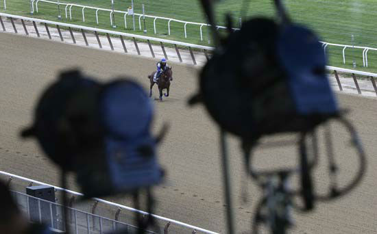"""<div class=""""meta image-caption""""><div class=""""origin-logo origin-image none""""><span>none</span></div><span class=""""caption-text"""">Television broadcast lights hang from the rafters of the grandstand at Belmont Park as American Pharoah gallops around the track (AP Photo/ Julie Jacobson)</span></div>"""