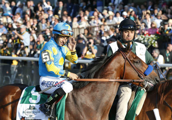 """<div class=""""meta image-caption""""><div class=""""origin-logo origin-image none""""><span>none</span></div><span class=""""caption-text"""">American Pharoah (5) with Victor Espinoza up parades to the starting gate before the 147th running of the Belmont Stakes horse race at Belmont Park (AP Photo/ Julio Cortez)</span></div>"""