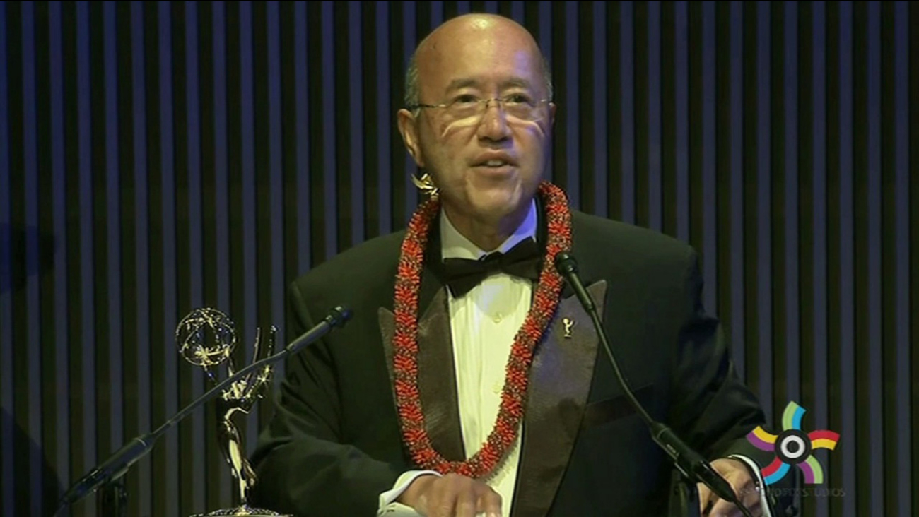 ABC7's David Louie received the Governor's Award at the Northern California Emmy Awards in San Francisco, Saturday, June 7, 2015.