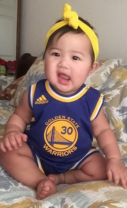 <div class='meta'><div class='origin-logo' data-origin='none'></div><span class='caption-text' data-credit='Tag your photos on Facebook, Twitter, Google Plus or Instagram using #DubsOn7.'>This tiny Warriors fan is ready for her first-ever Warriors NBA Finals game.</span></div>