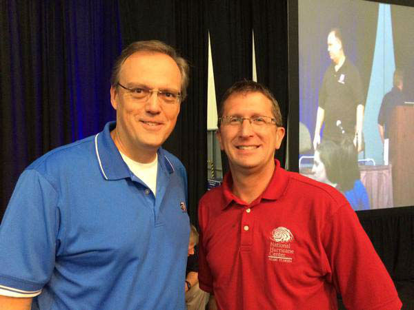 """<div class=""""meta image-caption""""><div class=""""origin-logo origin-image none""""><span>none</span></div><span class=""""caption-text"""">Tim with the director of the National Hurricane Center at the Houston Hurricane Workshop (KTRK Photo)</span></div>"""