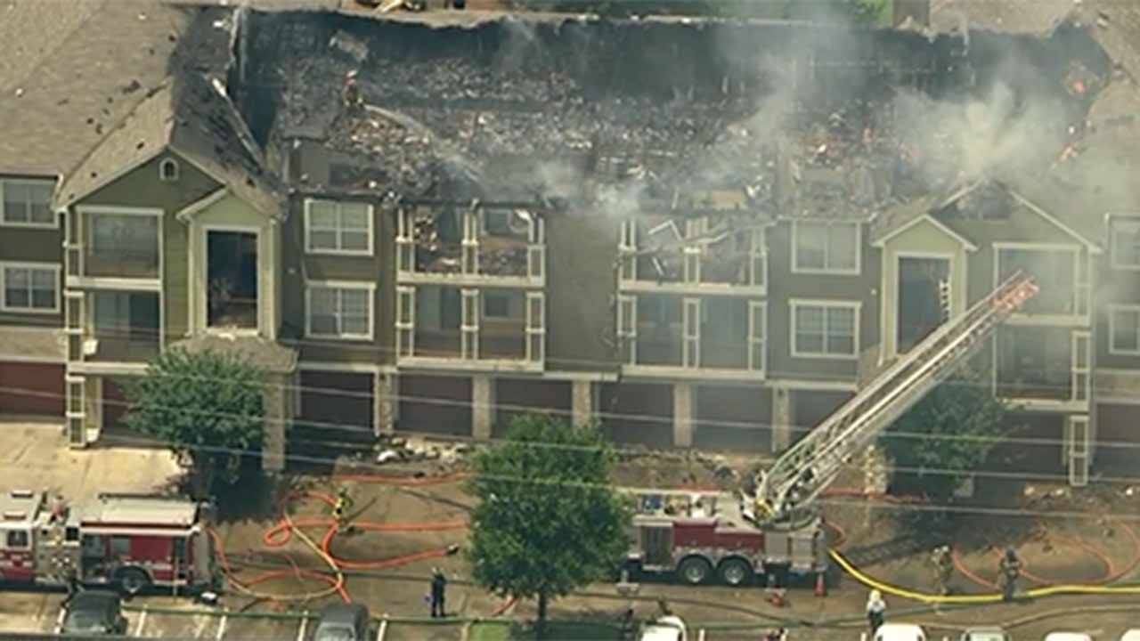"""<div class=""""meta image-caption""""><div class=""""origin-logo origin-image none""""><span>none</span></div><span class=""""caption-text"""">A west Houston apartment complex suffered major damage after a two-alarm fire broke out early Monday afternoon. (KTRK/PHOTO)</span></div>"""