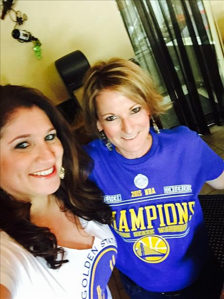 <div class='meta'><div class='origin-logo' data-origin='none'></div><span class='caption-text' data-credit='Photo submitted to KGO-TV by Teri M.'>Teri M. and her coworker Alexandra cheered on the Warriors in Pleasanton, Calif. on June 7, 2015. Tag your photos on Facebook, Twitter, Google Plus or Instagram using #DubsOn7.</span></div>