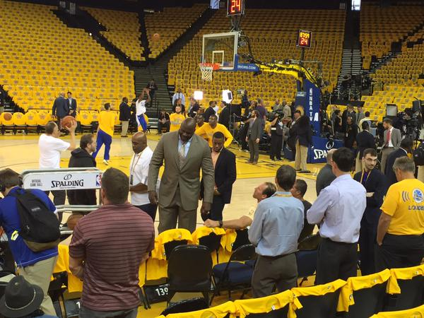 "<div class=""meta image-caption""><div class=""origin-logo origin-image none""><span>none</span></div><span class=""caption-text"">ABC7 News reporter Katie Marzullo's view was blocked by a very tall Shaq on Sunday, June 7, 2015 at Oracle Arena. (KGO-TV)</span></div>"