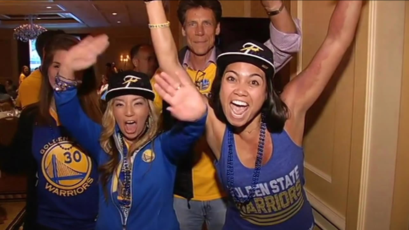 To make sure there's plenty of blue and gold in Cleveland, the Warriors flew their entire staff out for Game 3 of the NBA Finals on June 9, 2015.