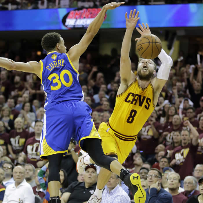 """<div class=""""meta image-caption""""><div class=""""origin-logo origin-image none""""><span>none</span></div><span class=""""caption-text"""">Warriors' Stephen Curry fouls Cavaliers'  Matthew Dellavedova as he shoots during  Game 3 of basketball's NBA Finals in Cleveland, Tuesday, June 9, 2015. (AP Photo/Tony Dejak)</span></div>"""