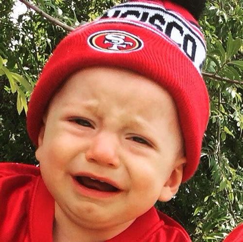 """<div class=""""meta image-caption""""><div class=""""origin-logo origin-image none""""><span>none</span></div><span class=""""caption-text"""">This boy is decked out in 49ers gear, but rocking a LeBron scowl! Tag your photos on Facebook, Twitter, Google Plus or Instagram using #DubsOn7. (Photo submitted to KGO-TV by Hailey Eckhert/Facebook)</span></div>"""