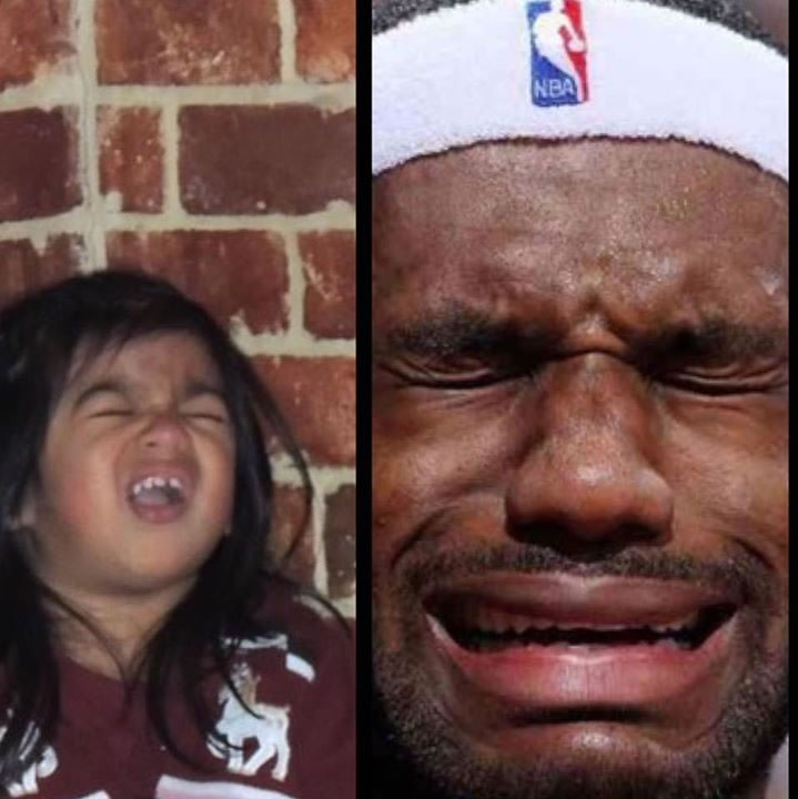 """<div class=""""meta image-caption""""><div class=""""origin-logo origin-image none""""><span>none</span></div><span class=""""caption-text"""">This little girl's expression is just as pained as LeBron's! Tag your photos on Facebook, Twitter, Google Plus or Instagram using #DubsOn7. (Photo submitted to KGO-TV by Christine Ortiz/Facebook)</span></div>"""