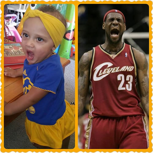 """<div class=""""meta image-caption""""><div class=""""origin-logo origin-image none""""><span>none</span></div><span class=""""caption-text"""">Little nine-month-old Julianna reenacts the famous LeBron scream! Tag your photos on Facebook, Twitter, Google Plus or Instagram using #DubsOn7. (Photo submitted to KGO-TV by Jennifer Veon Valley/Facebook)</span></div>"""