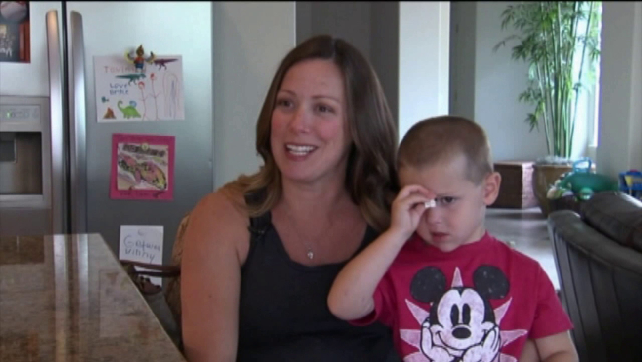 Jaclyn Caramazza recalls jumping into action after a rattlesnake bit her son's foot.