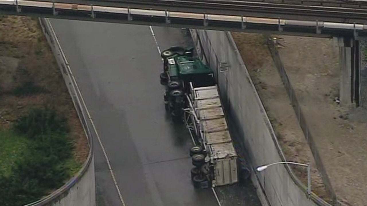 The CHP says it may take several hours to cleanup a big rig that overturned on the 7th Street on-ramp in Oakland.
