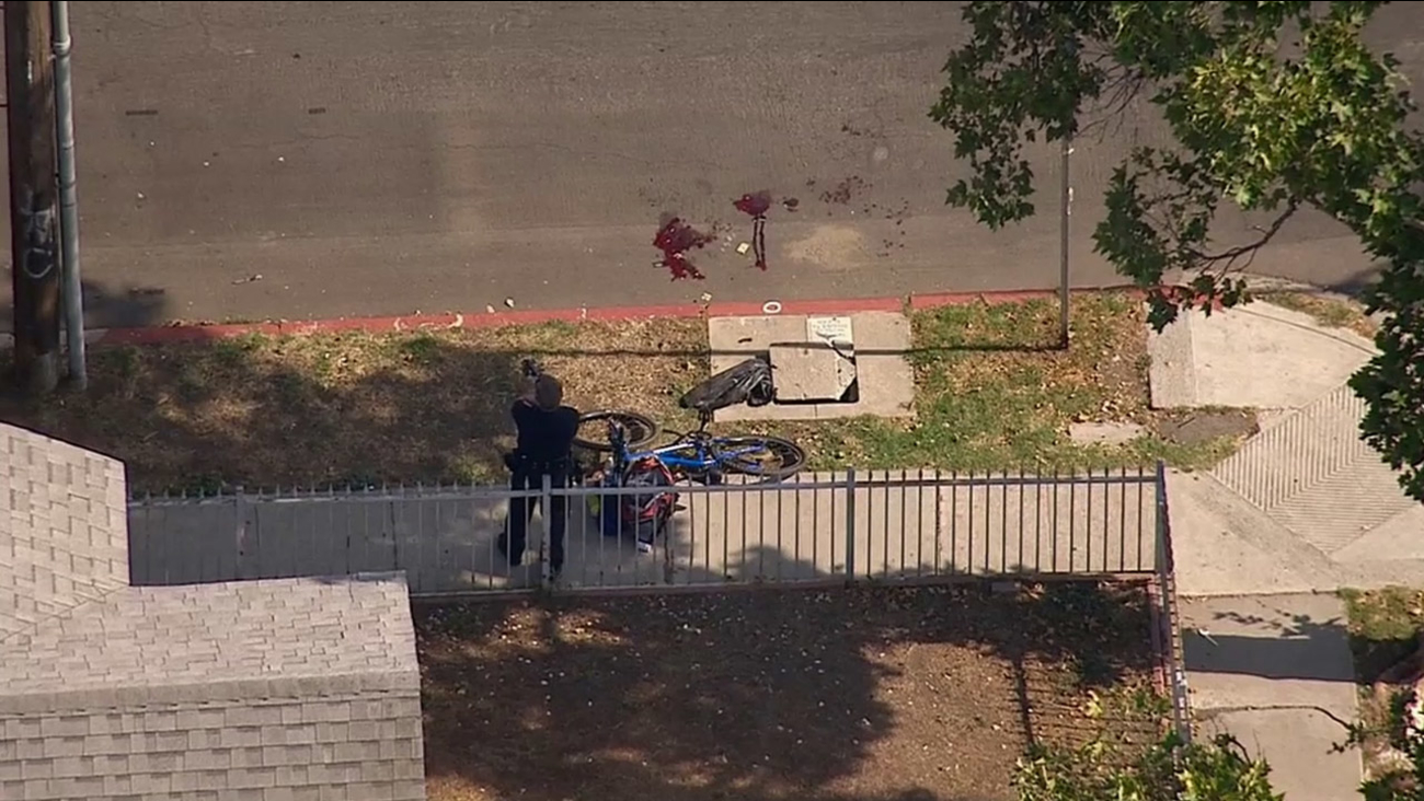 Los Angeles police investigate an officer-involved shooting, where a man had allegedly threatened himself and others with a knife in Hollywood on Wednesday, June 10, 2015.