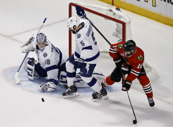 """<div class=""""meta image-caption""""><div class=""""origin-logo origin-image none""""><span>none</span></div><span class=""""caption-text"""">Tampa Bay Lightning goalie Andrei Vasilevskiy keeps his eye on the puck during the second period in Game 4 of the NHL hockey Stanley Cup Final. (AP Photo/ Charles Rex Arbogast)</span></div>"""