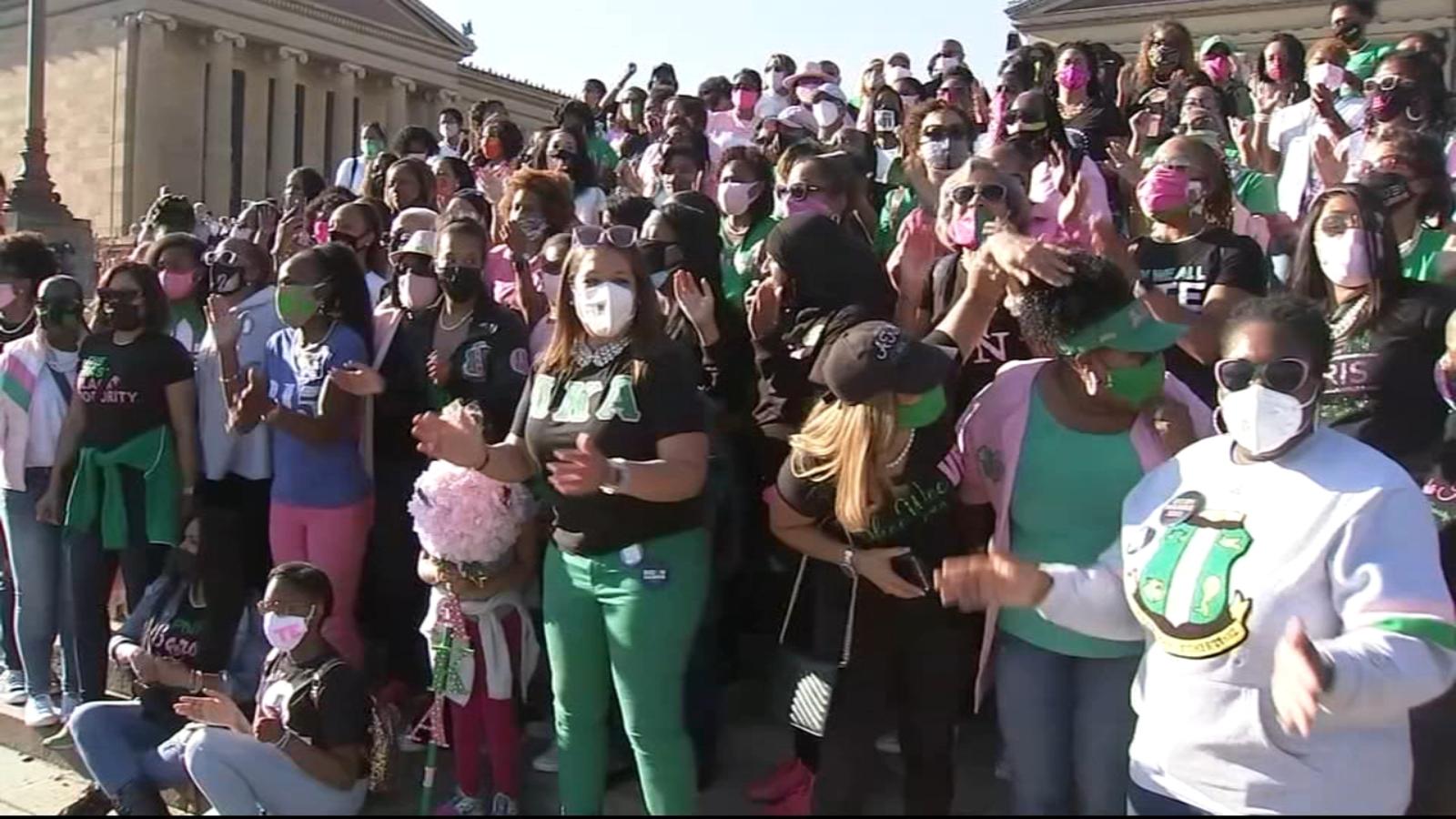 Alpha Kappa Alpha Sorority Sisters Celebrate Kamala Harris 6abc Philadelphia