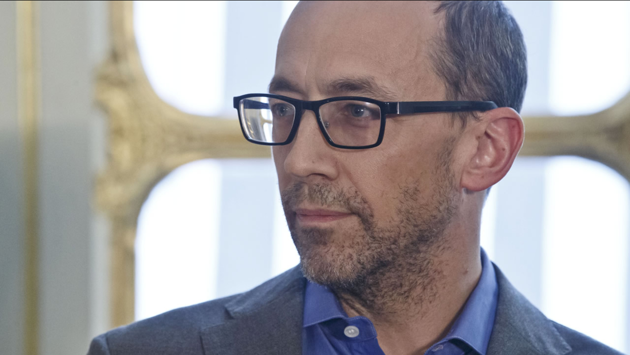CEO of Twitter Dick Costolo listens to the speech of France's Culture Minister Fleur Pellerin during a press conference at the culture ministry in Paris, March 5, 2015. (AP Photo/Michel Euler)
