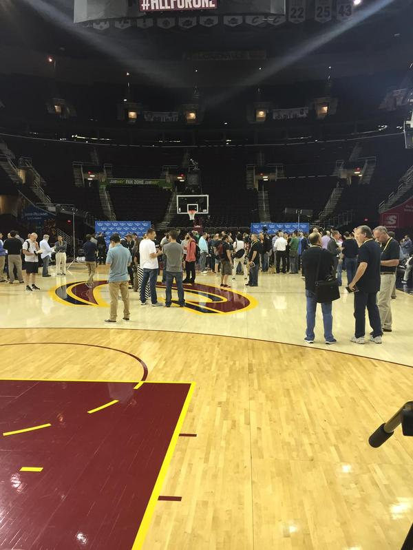 "<div class=""meta image-caption""><div class=""origin-logo origin-image none""><span>none</span></div><span class=""caption-text"">It was media madness at practice on Wednesday, June 10, 2015 in Cleveland, Ohio. (KGO-TV)</span></div>"