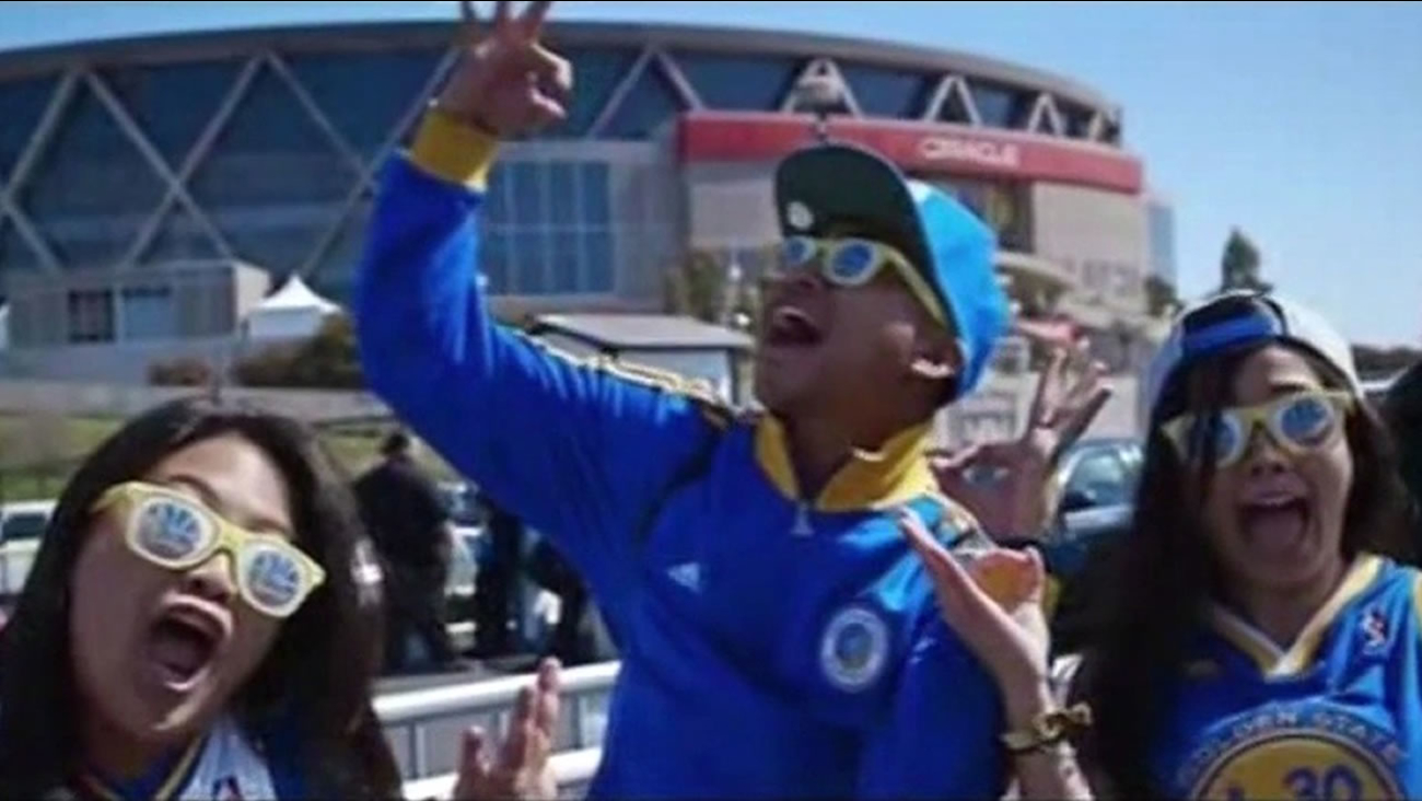"""Golden State Warriors fans are seen in the video """"Splash"""" by Ron Lennon and J.Wells."""