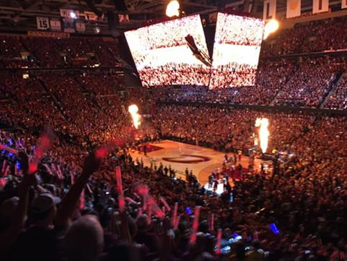 "<div class=""meta image-caption""><div class=""origin-logo origin-image none""><span>none</span></div><span class=""caption-text"">The Warriors and the Cavaliers lineup on court ahead of Game 4 Thursday, June 11, 2015 in Cleveland, Ohio. (KGO-TV)</span></div>"