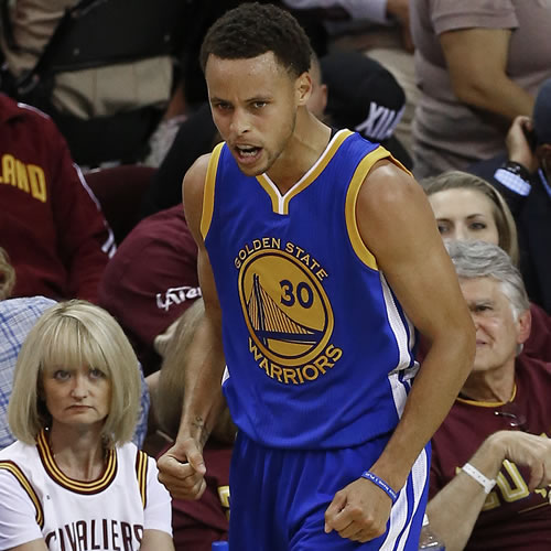"""<div class=""""meta image-caption""""><div class=""""origin-logo origin-image none""""><span>none</span></div><span class=""""caption-text"""">Golden State Warriors guard Stephen Curry (30) reacts during the second half of Game 4 of basketball's NBA Finals against the Cleveland Cavaliers, in Cleveland. (AP Photo/Paul Sancya)</span></div>"""