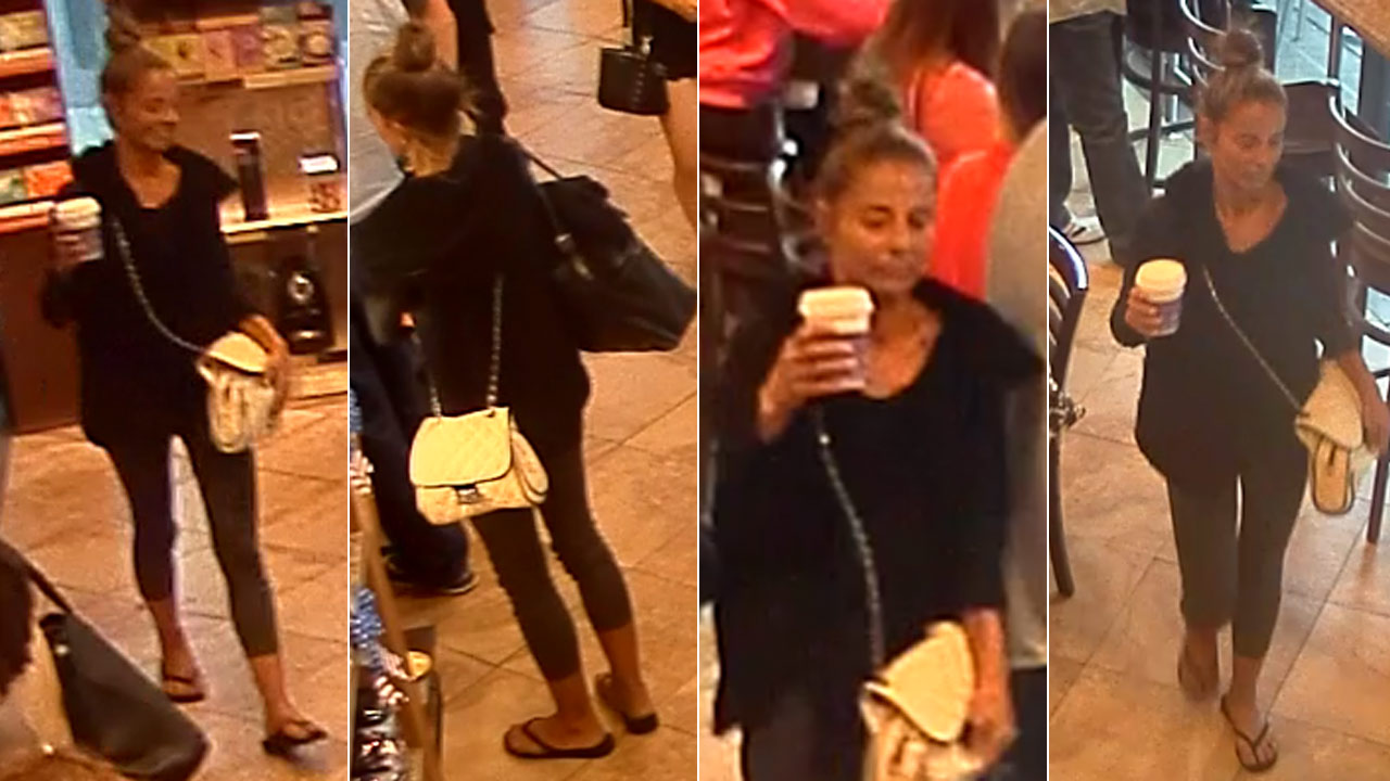 Santa Monica police released these photos of a woman suspected of beating a tourist at a Coffee Bean & Tea Leaf.