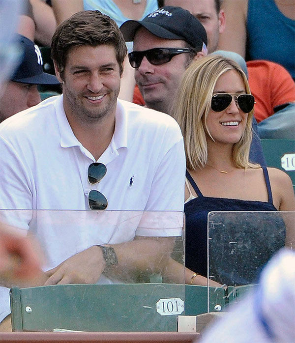 <div class='meta'><div class='origin-logo' data-origin='none'></div><span class='caption-text' data-credit='AP'>Jay Cutler, left, and Kristin Cavallari watch the Chicago Cubs play the Chicago White Sox during an interleague baseball game in Chicago on July 2, 2011.</span></div>