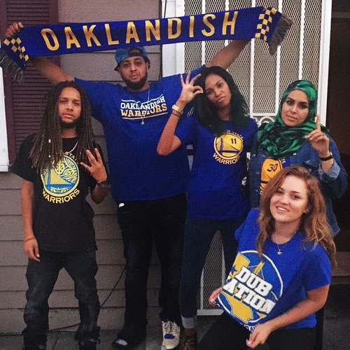 <div class='meta'><div class='origin-logo' data-origin='none'></div><span class='caption-text' data-credit='Photo submitted to KGO-TV by latinamuslimandproud/Instagram'>Go Warriors! Tag your photos on Facebook, Twitter, Google Plus or Instagram using #DubsOn7.</span></div>
