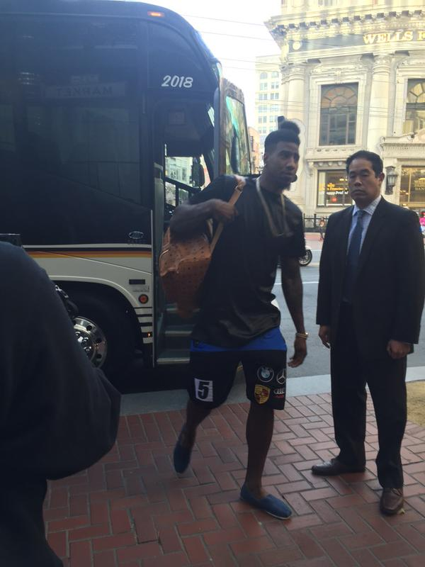 "<div class=""meta image-caption""><div class=""origin-logo origin-image none""><span>none</span></div><span class=""caption-text"">The Cleveland Cavaliers arrive at their hotel in San Francisco, Calif. on Friday, June 12, 2015. (KGO-TV)</span></div>"