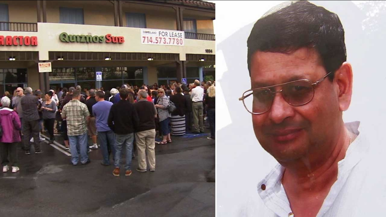 A candlelight vigil was held outside the Quiznos restaurant at 1034 W. Arrow Highway in San Dimas Friday, June 12, 2015 to remember Pravin Patel (right).
