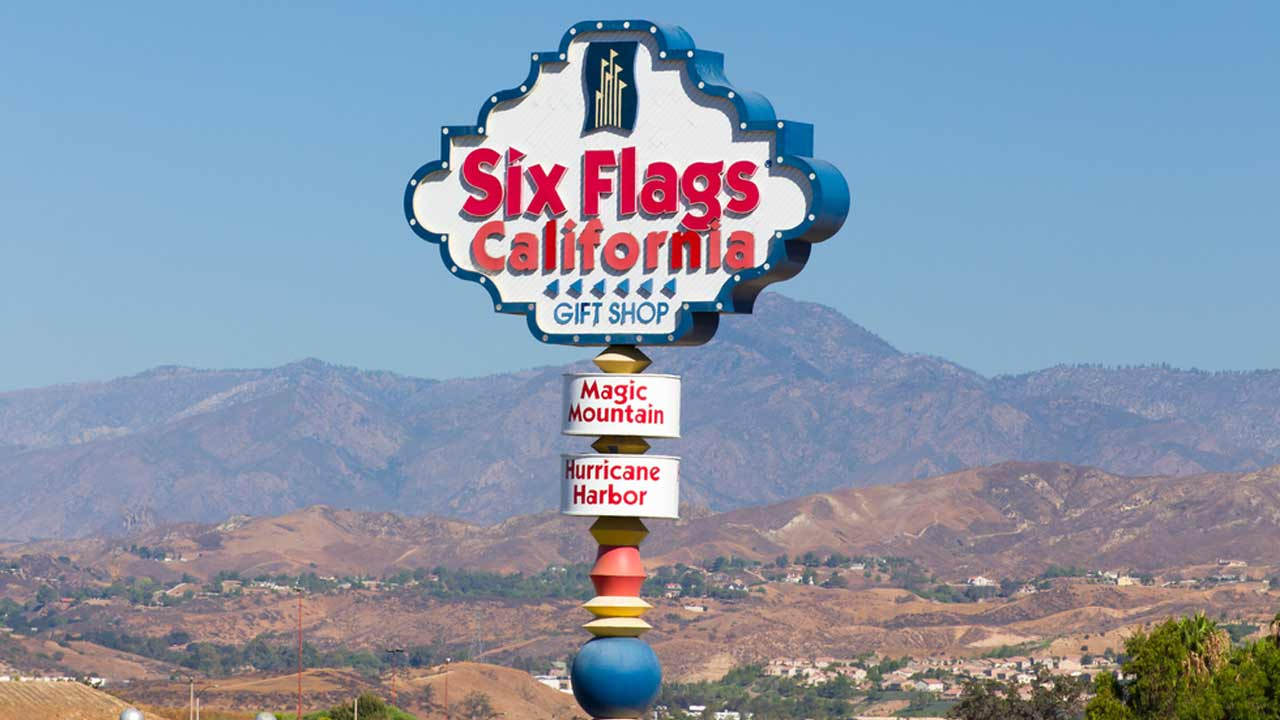 A sign at the entrance of Six Flags Magic Mountain is seen in this undated file photo.