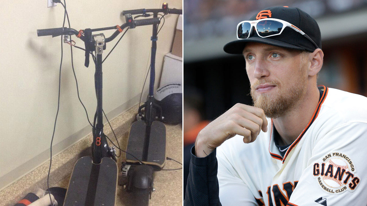 Left: Stolen scooter (Hunter Pence/Twitter); Right: Hunter Pence (AP)