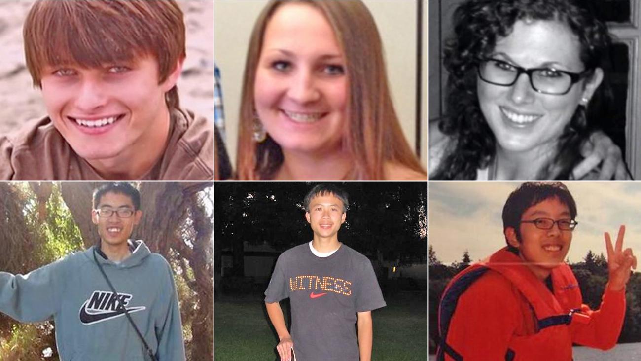 The six Isla Vista massacre victims, from top left: Christopher Michaels-Martinez, Veronika Weiss, Katie Cooper, James Cheng-Yuan Hong, George Chen, David Wang.