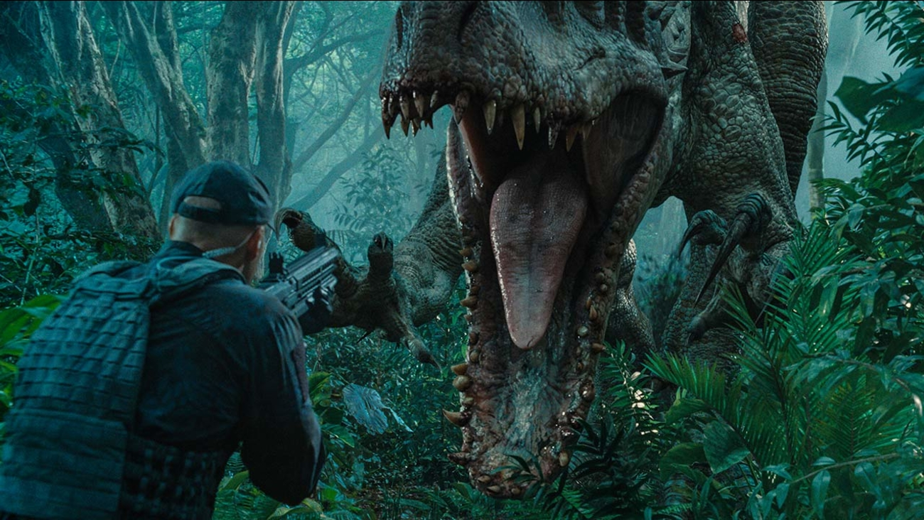"This photo provided by Universal Pictures shows, Indominus Rex about to attack in a scene from the film, ""Jurassic World,"" directed by Colin Trevorrow"