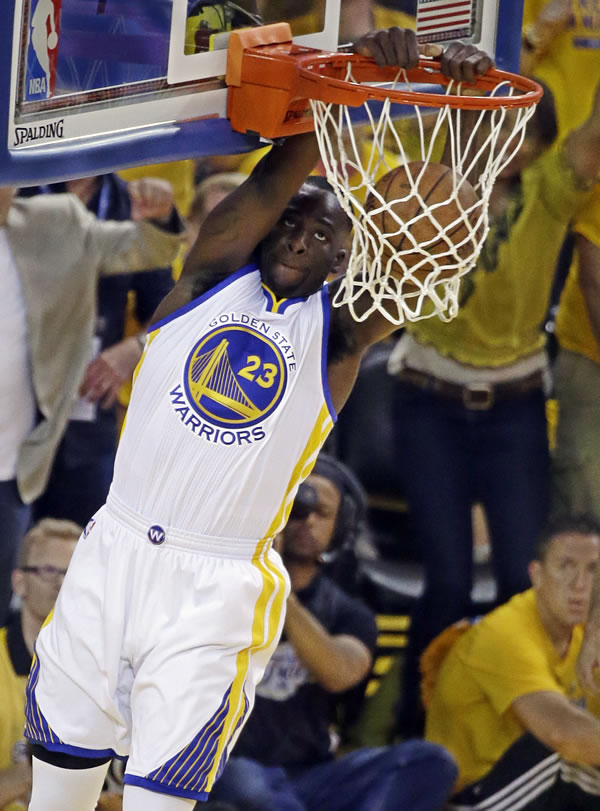 """<div class=""""meta image-caption""""><div class=""""origin-logo origin-image none""""><span>none</span></div><span class=""""caption-text"""">Warriors forward Draymond Green dunks against the Cavaliers during Game 5 of the NBA Finals in Oakland, Calif., Sunday, June 14, 2015. (AP Photo/Eric Risberg)</span></div>"""