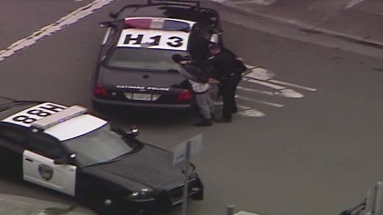 Three robbery suspects are in custody after a neighborhood search by Hayward police