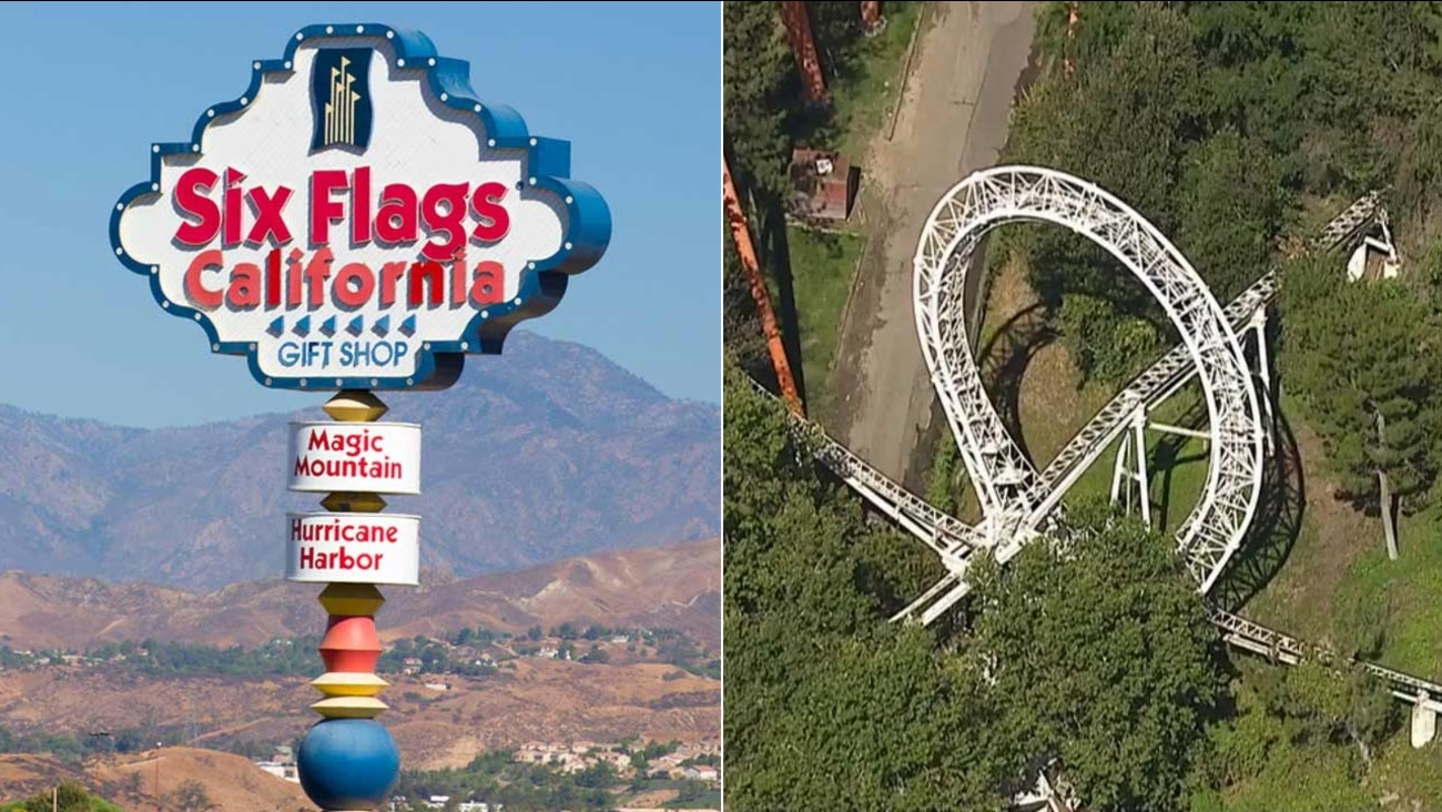 (Left) A sign at the entrance of Six Flags Magic Mountain is seen in this undated file photo. (Right) The Revolution roller coaster is shown in this June 2015 photo.
