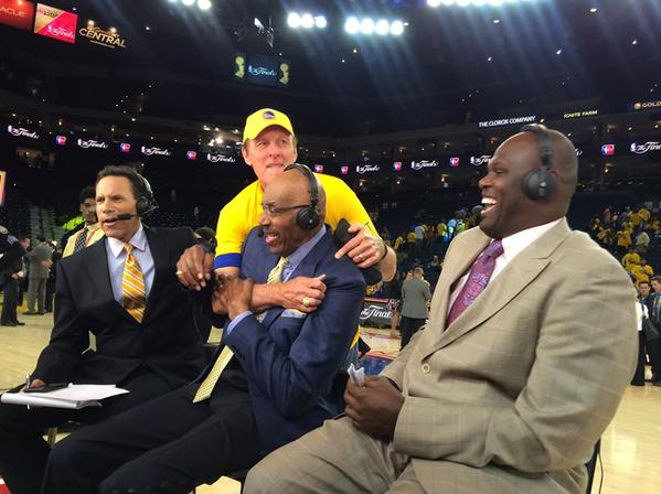 "<div class=""meta image-caption""><div class=""origin-logo origin-image none""><span>none</span></div><span class=""caption-text"">Look who crashed After the Game on Sunday, June 14, 2015 on ABC7 - hall of famer Rick Barry! (KGO-TV)</span></div>"