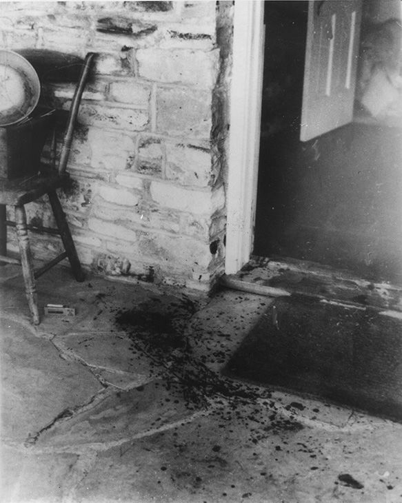 "<div class=""meta image-caption""><div class=""origin-logo origin-image none""><span>none</span></div><span class=""caption-text"">Bloodstains are seen on the flagstone porch at the front door of the rented Beverly Hills home of actress Sharon Tate on Aug. 20, 1969. (AP Photo/Peter Banks, Valley Times)</span></div>"