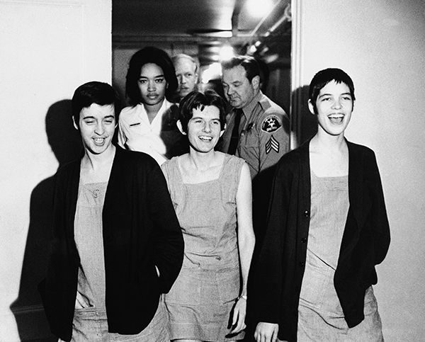 "<div class=""meta image-caption""><div class=""origin-logo origin-image none""><span>none</span></div><span class=""caption-text"">Three women co-defendants in the Sharon Tate murder case, from left, Susan Atkins, Patricia Krenwinkel and Leslie Van Houten, laugh as they walk to court on March 29, 1971. (AP Photo)</span></div>"