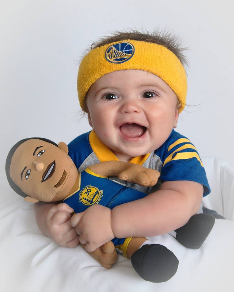 <div class='meta'><div class='origin-logo' data-origin='none'></div><span class='caption-text' data-credit='Photo submitted to KGO-TV by Carrie P/uReport'>Eight-month-old Derek from Fremont loves his Warriors, especially Steph Curry! Tag your photos on Twitter, Instagram, Google Plus and Facebook using #DubsOn7.</span></div>