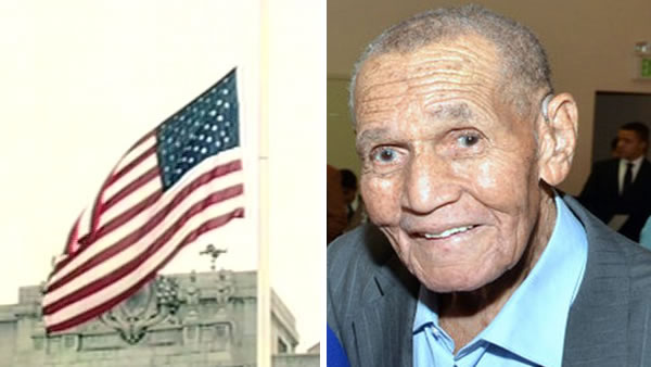 The flag at San Francisco's City Hall flew at half-staff on Monday, June 15, 2015 in honor of long-time labor leader Leroy King, who died at age 91.