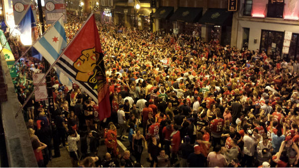 """<div class=""""meta image-caption""""><div class=""""origin-logo origin-image none""""><span>none</span></div><span class=""""caption-text"""">Fans packed Clark Street in Wrigleyville after the Chicago Blackhawks won their third Stanley Cup in six years on Monday, June 15, 2015. (WLS Photo)</span></div>"""