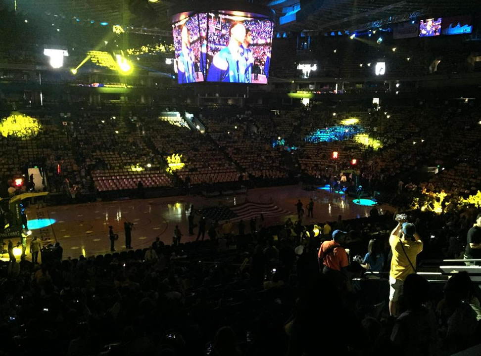 "<div class=""meta image-caption""><div class=""origin-logo origin-image none""><span>none</span></div><span class=""caption-text"">ABC7 News reporter Katie Utehs took this photo during the watch party at Oracle Arena on June 16, 2015. The crowd cheered for Steph Curry on the screen. (KGO-TV/ Katie Utehs)</span></div>"