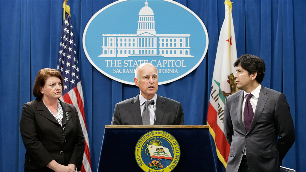 California Gov. Jerry Brown answers a question concerning the budget agreement reached with legislative leaders